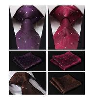 Luxury Mens Tie Set Brown Red Purple Polka Dot Wedding Handkerchief Woven Silk