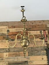 HUGE HEAVY ANTIQUE BRASS GOTHIC FLEMISH 3 ARM CHANDELIER SCONCE CEILING LIGHT