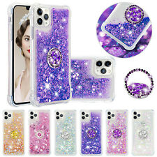 For Samsung Galaxy S20+ S20 Ultra Bling Quicksand Soft TPU Ring Stand Case Cover