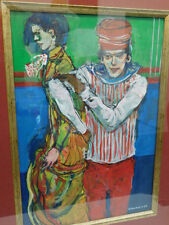 MAHMUD CAWIAN SIGNED PAINTING COLORFUL PEOPLE 2004 FRENCH IRAQI FRAMED