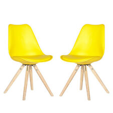 Schalenstuhl Clara 2er Set gelb skandinavisches Design Retro Look