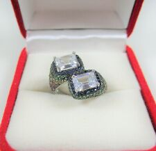 CZ, TOPAZ, CHROME, LAB SAPPHIRE/RUBY RING #6 WHITE GOLD over 925 STERLING SILVER
