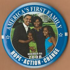 """xmas /""""America/'s First Family/"""" Campaign Button 2008 Barack Obama 3/"""""""