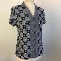 Dash Classic Printed Navy White Paisley Classic Blouse Top Size 12
