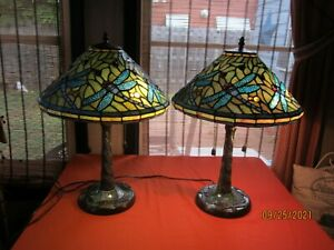 STUNNING! Vtg 2 Tiffany Style Table Lamps Dragonfly Stained Glass Shades & Bases