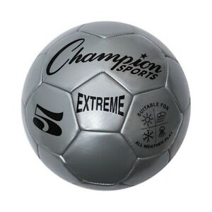 Champion Sports Extreme Soft Touch Butyl Bladder Soccer Ball, Size 5, Silver