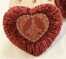 Shabby Chic French Country Cushion / Throw Pillow Burgundy Heart Velvet +Lace