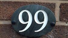 Slate Door House Number 1 to 99 - Oval - Deep engraved Black Slate