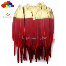 Duck Feather Wine Red Dyed Gold Head 6-8Inch/15-20cm 6Pcs Diy Carnival Mask