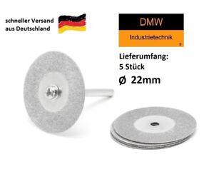 5x Diamant Trennscheibe 22mm für z.B. Dremel +1 Aufspanndorn 6tlg. Set Modellbau