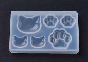 1pz stampo silicone per resina fai da te ciondolo forma gatto e zampa 77x48mm