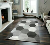 SMALL - LARGE LIGHT & DARK GREY HEXAGONS PATTERNED GEOMETRIC RUG