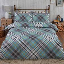 Tartan King Duvet Cover Set 100% Brushed Cotton - Duck Egg Blue / Grey