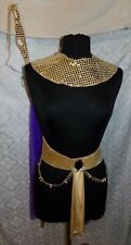 Cleopatra Halloween Costume Sequins Sequined Cape Belt One Size Vtg Purple