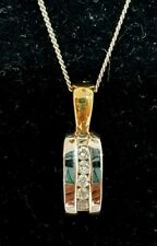 Stunning 9ct White And Yellow Gold Diamond Oval Pendant With Trace Chain 2.45g