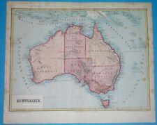 1877 rare ORIGINAL MAP AUSTRALIA NEW SOUTH WALES SYDNEY PERTH BRISBANE MELBOURNE