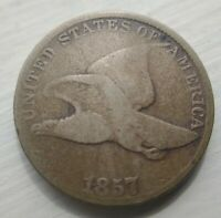 1857 Flying Eagle Small Cent, Very Good VG Problem Free Good eye appeal