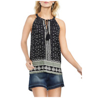 Vince Camuto Halter Tunic Tank Top Size M Black White Pleated Back Tassels NEW