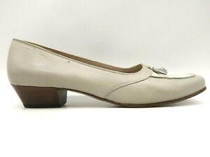 Salvatore Ferragamo Taupe Leather Tassel Slip On Block Heels Shoes Women's 7 AA