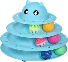 Cat Toy Roller Cat Toys 3 Level Towers Tracks Roller with Six Colorful Ball New