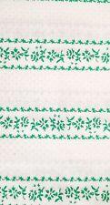 2 Yards of Vintage flocked fabric~Green Flocked Flower column on White Cotton