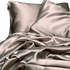 Satin Sheet Set QUEEN Size Champagne Silk Feel Latte 4pc Luxury Bed Linen New