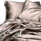 Satin Sheet Set QUEEN Size Champagne Silk Feel Latte 4pc Luxury Bed Linen New