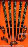 5 Pairs Chopsticks Classic Wood Dragon Beautiful 5 Pairs duck Gift Set NEW