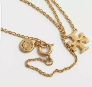 Auth NEW Tory Burch Delicate Logo Pendant Choker Necklace with Dust Bag
