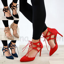New Womens Stiletto High Heel Sandals Ankle Lace Up Pointed Toe Party Shoes Size