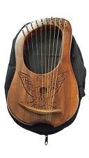 New Lyre Harp Engraved Eagle Design Free Case/Lyra Harp Shesham Wood 10 Strings