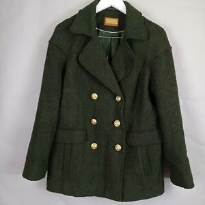 Per Una Ladies Khaki Green Military Double Breasted Jacket Pea Coat 12 Wool Mix