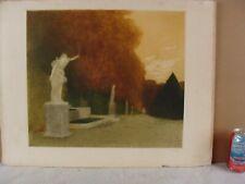 Antique 1906 Gaston De Latenay Garden Statues Landscape Aquatint Etching