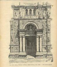 Stampa antica PAVIA Porta della Certosa 1894 Old antique print
