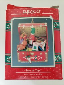 """1990 ENESCO Toy Chest Treasures """"TONS OF TOYS"""" First Ornament in Series -"""