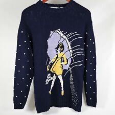 Vintage Eagles Eye Mortons Salt Girl 60s Pop Art Blue Sweater 90s Grunge Size L