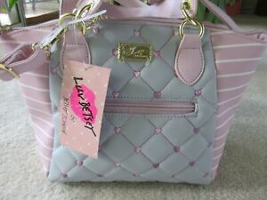 Luv Betsey By Betsey Johnson Gray Quilted With Mauve & White Stripe Satchel NWT