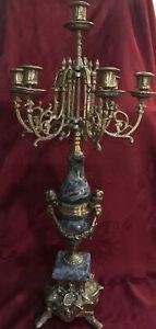 """Ornate 26"""" Italian Brevettato 7 Candle Candelabra Brass Green Marble Cherubs"""