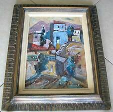 ISRAEL- EISENSCHER YAACOV (1896-1980) OIL ON CANVAS-PAINTING CITY SCAPE ZEFAT  P