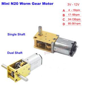 DC 3V 6V 9V 12V Large Torque Mini N20 Worm Gear Motor Full Metal Gearbox Robot
