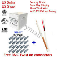 RG59 WHITE 1000FT BULK SIAMESE CABLE 20AWG+18/2 CCTV SECURITY CAMERA WIRE