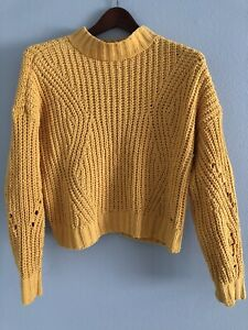 Hollister Yellow Cable Knit Long Sleeve Pullover Sweater Size S