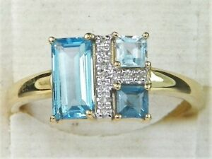 10k Yellow Gold Blue Topaz-.96 tcw & Diamond Band Fine Ring-Size 6.75