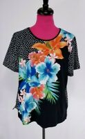Alfred Dunner Knit Top Tshirt Tee Size L Black White Polka Dot Floral Beaded