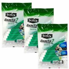 30 Pcs Schick Exacta 2 Disposable Razor Twin Blades Precise Shaver Green Handle