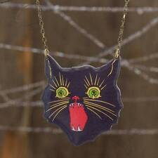 """Whimsical Folk-Art Sassy Black Cat 16"""" Statement Necklace Great For Halloween"""
