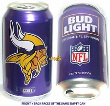 2017 NFL KICKOFF MINNESOTA VIKINGS BUD LIGHT BEER CAN FOOTBALL MN SPORT MAN CAVE