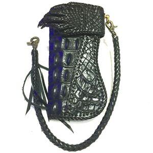 Handmade Bi-fold Biker Genuine Crocodile Leather Men's Long Wallet + Chain # 5