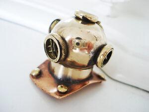 Sailor Steampunk Rustic Brass Diving Bell Helmet Pendant