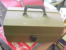 FT3 vintage ridgid plastic no name fishing tackle box tacklebox olive green